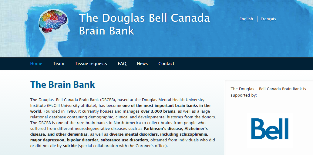 Douglas Bell Canada Brain Bank website