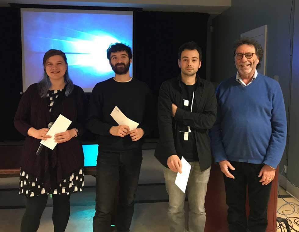 Lauren Reynolds, 3rd prize; Guido Powell, 2nd prize; Arnaud Tanti, 1st prize; Mr. Jacques Hendlisz (donor)