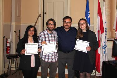 Psychiatry winners - left to right: Randa Elgendy, Gerald Jordan, Naguib Mechawar (Program Director), Kira Riehm