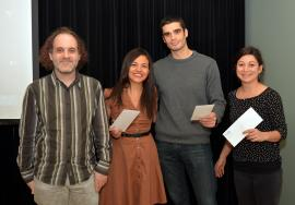 Nicolas Cermakian, Director of Academic Affairs, with Angélica Torres-Berrío (3rd prize), Richard Boyce (1st prize), Elsa Isingrini (2nd prize)