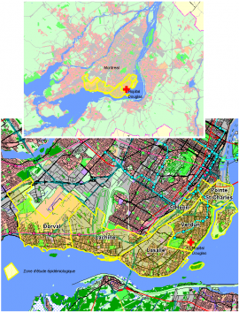 The distribution of ZEPSOM sample in the South-West of Montreal, Canada